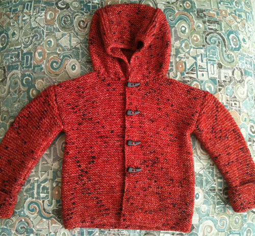Knitted red hoodie