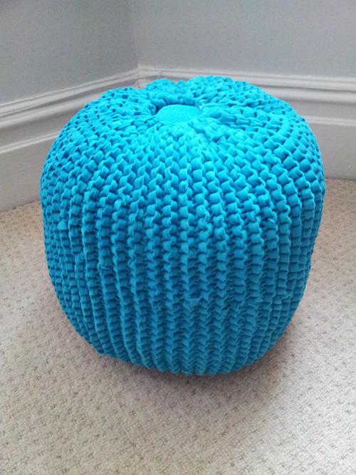 Knitted pouffe made from recycled cotton jersey